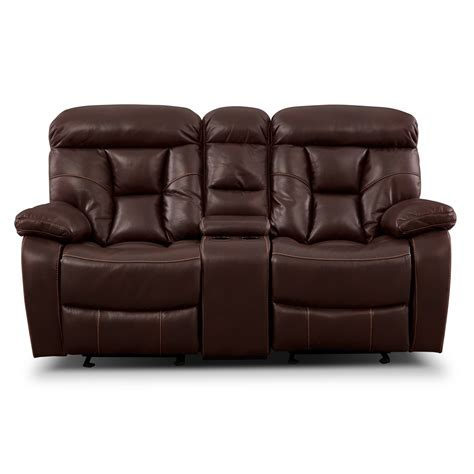 Glider Reclining Loveseat With Console by Wichita Java Glider Reclining Loveseat With Console