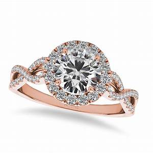 Twisted Diamond Halo Engagement Ring 14k Rose Gold 150ct