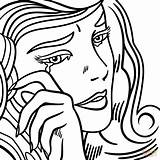 Crying Coloring Lichtenstein Roy Pop Pages Drawing Printable Depressed Sheets Sad Anime Da Adult Supercoloring Line Tart Getcolorings Super Colouring sketch template
