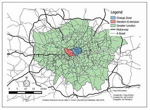 Map Illustrating The Area Covered By The London Congestion Charge And