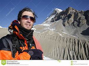 Mountaineer Looking At A Mountain Royalty Free Stock Photo ...