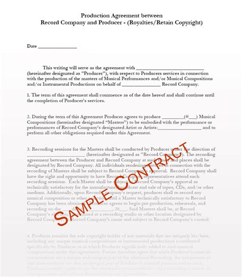 contract service agreement template for producing a tv show music producer contract templates music production