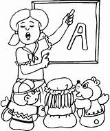 Teacher Coloring Pages Printable Kindergarten Student Drawing Teachers Teaching English Cartoon Ever Alphabet Happy sketch template