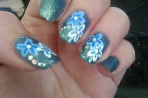 Diy flower nail art designs blue showcase of design