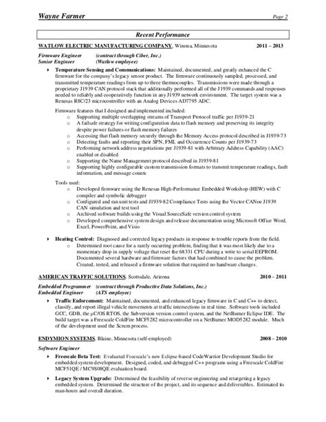 senior firmware engineer resume sle childcare resume