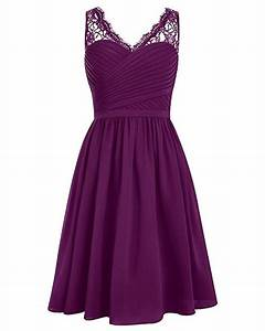 cheap grape v neck short bridesmaid dresses lace shoulder With dresses for wedding party