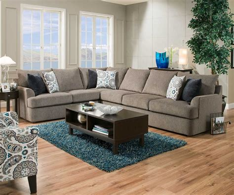 United Simmons Grandstand 8540 Beautyrest Grey Sectional Sofa