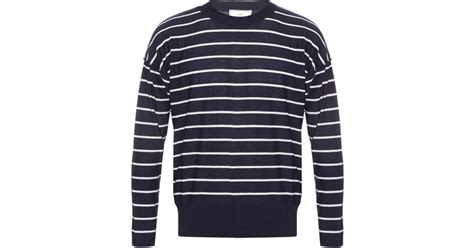 Ami Long-sleeved Striped-wool Sweater In Blue For Men