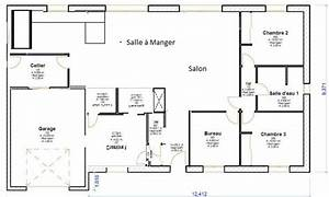 agreable plan de maison 200m2 4 plan de maison plain With plan maison 120m2 4 chambres