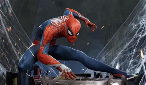 Spider-man Swings Over La In A Building-sized Ps4 Poster
