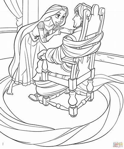 Rapunzel Coloring Princess Disney Pages Flynn Cartoon