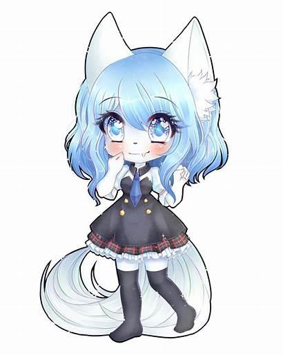Wolfychu Chibi Anime Drawings Drawing Blavk Kawaii