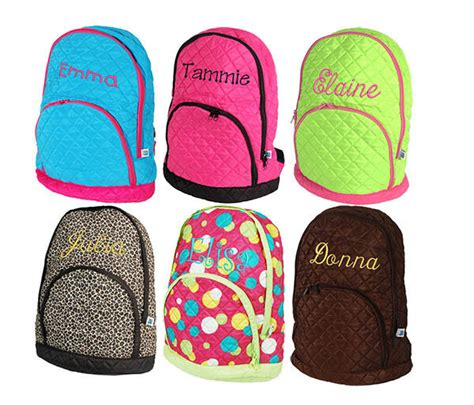 personalized quilted kids girl school book bag backpack