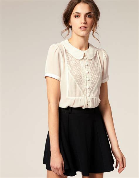 collar blouse womens pan collar blouse white black blouse