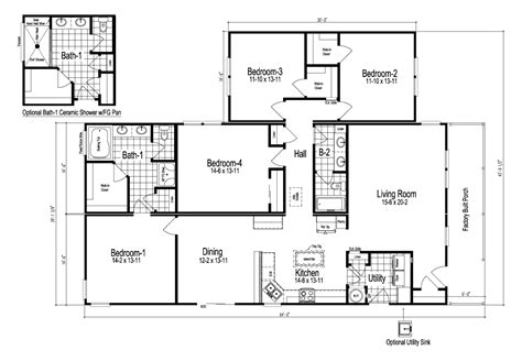 Wilmington Ii 4 Bedroom Manufactured Home Floor Plan Or
