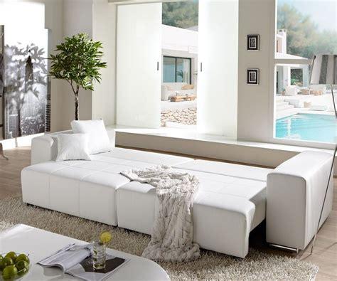 Big-sofa Marbeya 290x110cm Weiss Mit Schlaffunktion Möbel