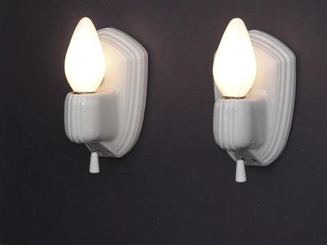 pair vintage white porcelain wall sconce fixtures
