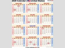 2025 Calendar for the USA, with US Federal Holidays