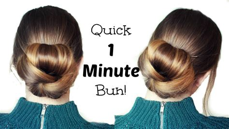 quick and easy 60 second bun hairstyle updo easy