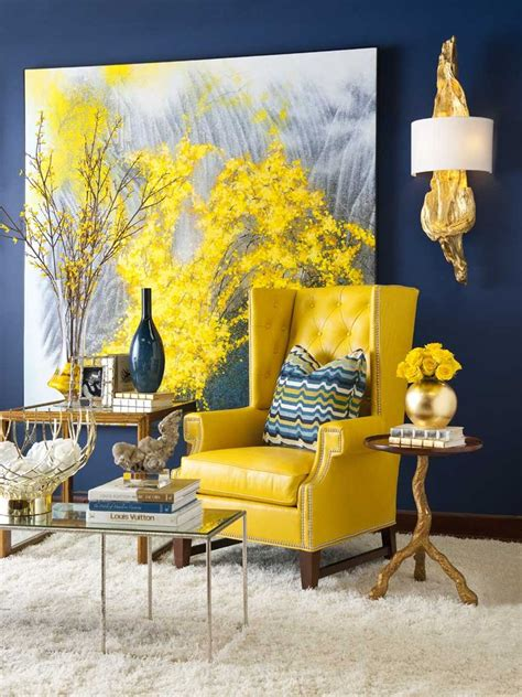 Navy Blue White And Yellow Bedroom