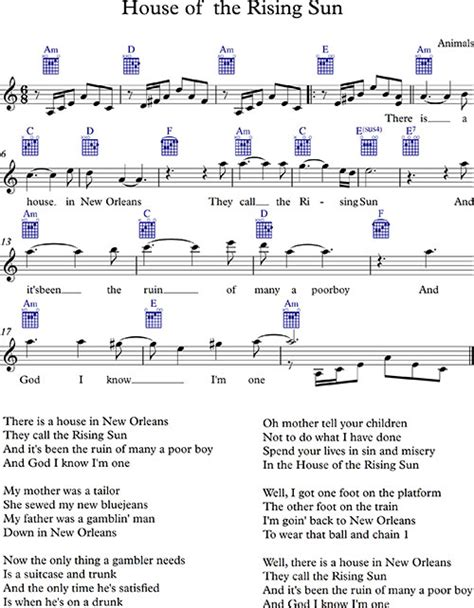 Ноты и аккорды дом восходящего солнца (энималс ) house of the.