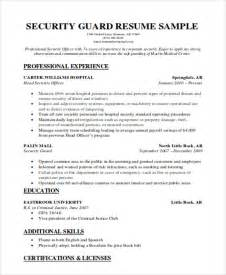 Hotel Security Resume Skills by Security Objectives For Resume Security Officer Resume Template Security Supervisor Seeking