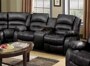 9171 9241 reclining sectional sofa in black bonded leather With bonded leather sectional sofa with recliners