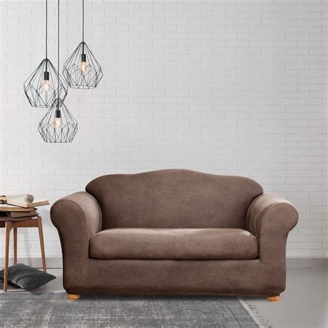 Leather Loveseat Slipcover by Shop Sure Fit Stretch Leather 2 Loveseat Slipcover