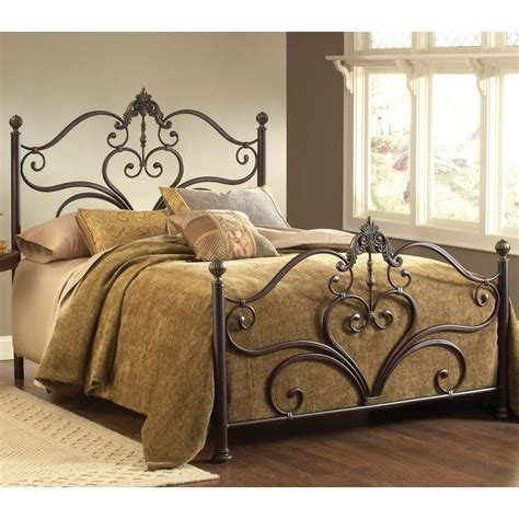 metal headboard and footboard newton iron bed by hillsdale furniture wrought iron