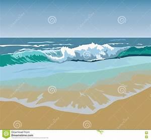 Summer Beach Waves Vector Illustration Stock Vector ...