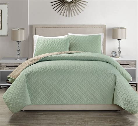 Quilted Coverlet by Embossed Reversible Bedspread Quilt Set