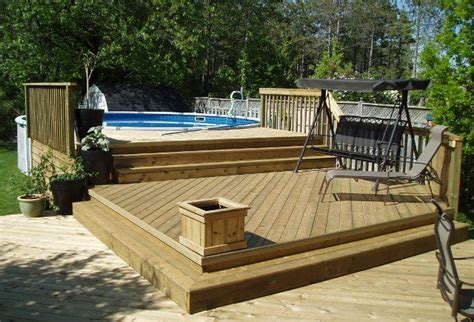 above ground pool decks 27 ft round pool deck plan free