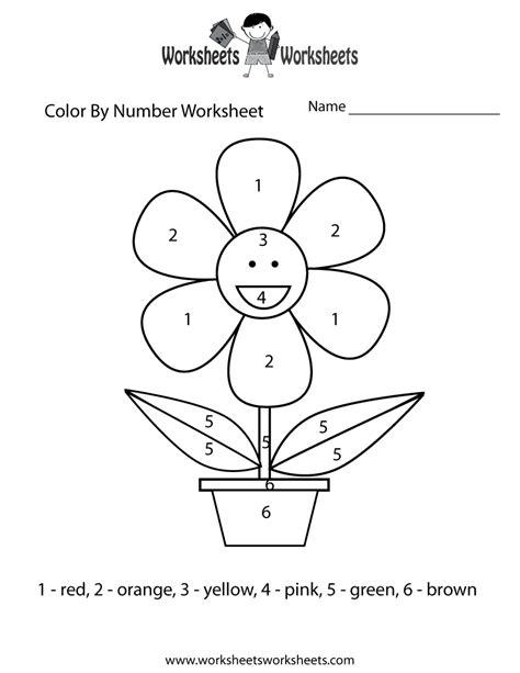 easy color  number worksheet worksheets worksheets