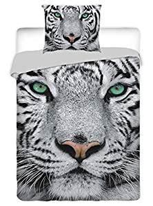 parure de lit tigre blanc f 233 housse de couette lit 1 personne 100 coton fr