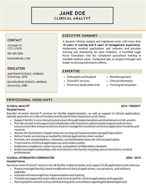 resume for health analyst clinical analyst resume exle certified