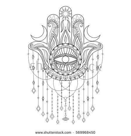 hamsa hand vector illustration hand drawn symbol