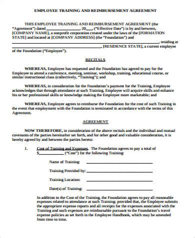 sample training agreement  examples  word