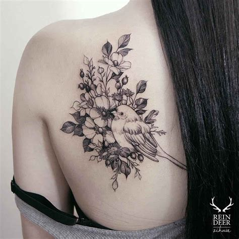 Flowers And Bird Tattoo On Shoulder Blade For Girls Body