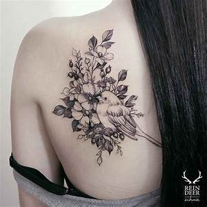 flowers and bird tattoo on shoulder blade for girls | Body ...