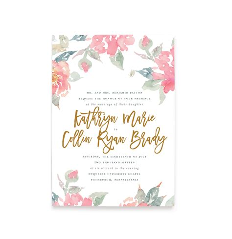 watercolor floral wedding invitations  shipping