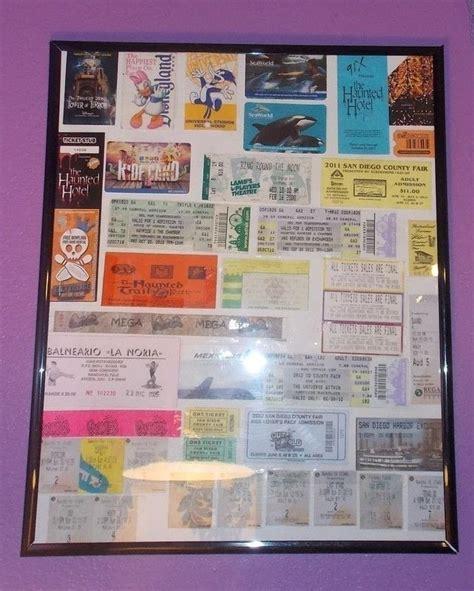 ticket stub collage wall decor     framed