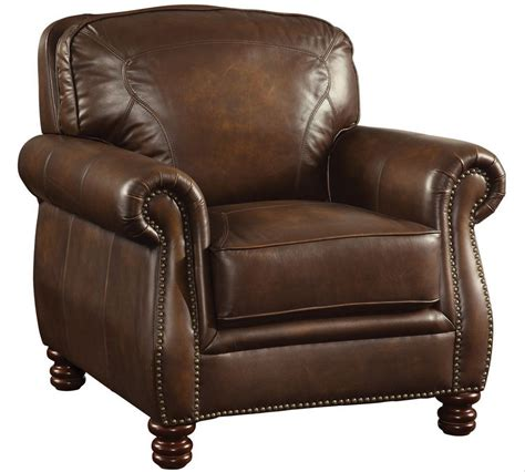 leather chair coaster furniture montbrook brown leather chair 503983