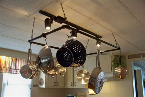alluring kitchen pot rack with lights features grey silver