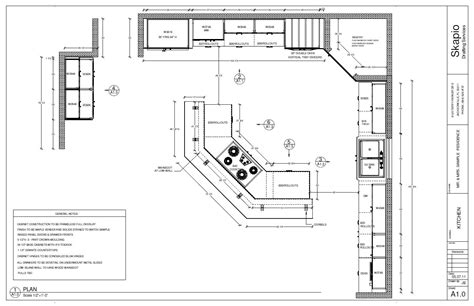 sample kitchen floor plan shop drawings