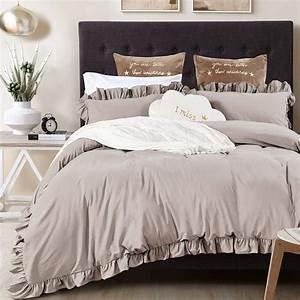 Queen, U0026, 39, S, House, Vintage, Washed, Cotton, Duvet, Cover, Bedding, Set, Taupe, King, Ruffle