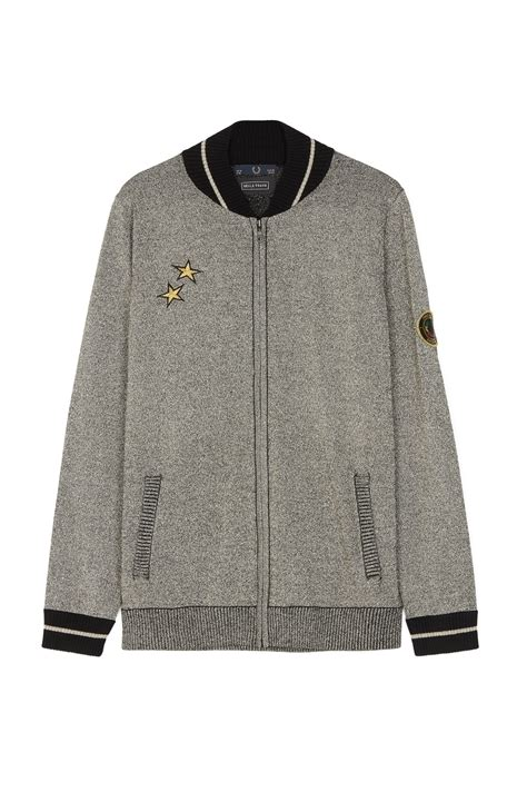 freud sparkle knit bomber jacket metallic silver fred perry uk