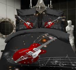 music note black guitar comforter bedding sets queen size duvet cover bedspread sheets bed in a