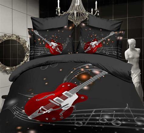 music note black guitar comforter bedding sets queen size