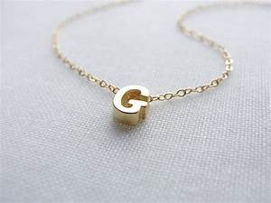 items similar to tiny gold capital letter necklace With small gold letter necklace