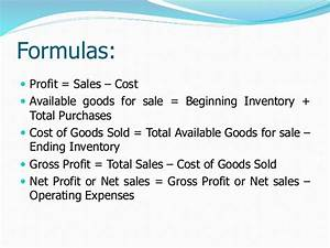 Profit & loss, sales and cost of goods sold